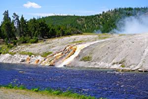Обои США Парк Речка Лес Йеллоустон Firehole River
