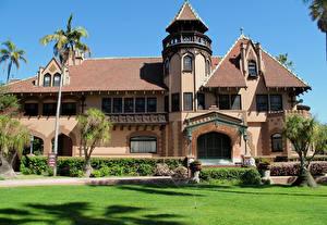 Обои США Дома Калифорния Лос-Анджелес Дизайн Газон Пальмы Города фото