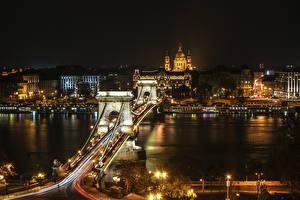 Фотография Будапешт Венгрия Здания Река Мосты Ночью Города