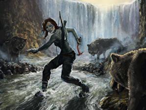 Обои Tomb Raider 2013 Волки Водопады Лара Крофт Wolf's Lair Игры Девушки фото