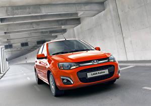 Обои Российские авто Лада Дороги Оранжевый Туннель Русские Kalina 2 Автомобили фото