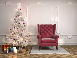 Обои Праздники Новый год Интерьер Елка Кресло Подарки Шарики Стена 3D Графика фото