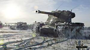 Обои World of Tanks Танки Зима Снег KRANVAGN Игры фото