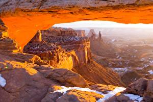 Картинка США Парки Каньоны Скала Mesa Arch Canyonlands National Park Природа