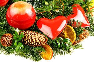 Фотография Новый год Праздники Ветвь Шарики Шишки Сердечко