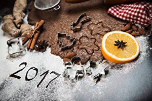 Картинки Новый год Печенье Апельсин Корица Сахарная пудра 2017