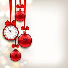 Фотографии Праздники Новый год Часы Бантик Шарики Красный