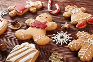 Фото Праздники Рождество Печенье Дизайн Снежинки