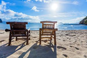 Обои Филиппины Тропики Побережье Небо Море Кресло Песок Пляж Солнце Природа фото