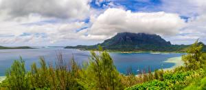 Обои Французская Полинезия Тропики Горы Побережье Бора-Бора Облака Природа фото