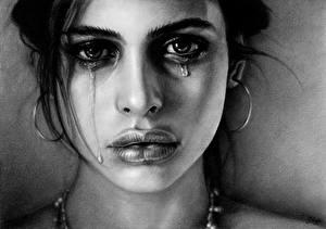 Обои Рисованные Губы Лицо Взгляд Серьги Слезы Черно белое Девушки фото