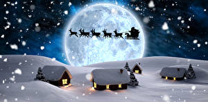 Фото Зимние Здания Олени Снеге Дед Мороз Луна Силуэт Санках Природа