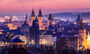Фотография Прага Чехия Здания Ночью Башня город