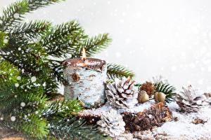 Картинка Рождество Праздники Свечи Белый фон Шарики Шишки Ветвь Ель Снежинки