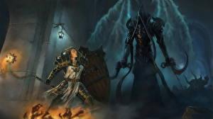 Фотография Diablo III Демоны Воины Щит Доспехи Капюшон Reaper of Souls, Angel of Death, Malthael Игры Фэнтези Девушки