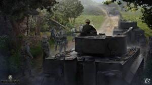 Обои World of Tanks Танки Солдаты Немецкий Pz.Kpfw.VI, Tiger Игры фото