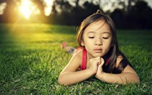 Обои Азиатки Руки Девочки Трава Газон Лицо Дети фото