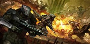 Обои Destiny (игра) Воители Автоматы Битвы Магия Шлем Доспехи Fireteam Игры Фэнтези фото