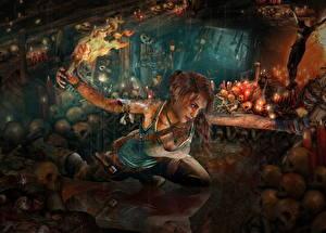 Картинка Tomb Raider 2013 Черепа Лара Крофт Факел Пещера Кровь Игры Девушки