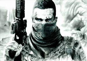Обои Солдаты Автоматы Черно белое Взгляд Spec Ops: The Line Игры фото