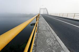 Картинка Мосты Дороги Ограда Туман город