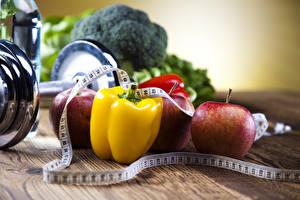Фотография Перец овощной Овощи Фитнес Гантели Измерительная лента Еда
