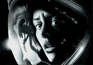 Обои Монстры Лицо Взгляд Черно белое Шлем Alien: Isolation, Amanda Ripley Игры Девушки фото