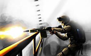 Картинка Солдаты Рисованные Пулеметы Выстрел Армия