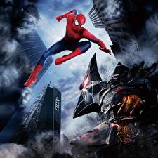 Обои Человек-паук Человек паук герой Монстры Прыжок The Amazing Spider-Man 4 Фильмы фото