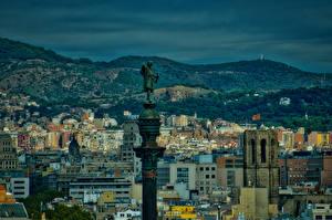 Фото Испания Здания Памятники Вечер Барселона Колонна город