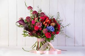 Обои Букеты Розы Тюльпаны Гиацинты Белокрыльник Ленточка