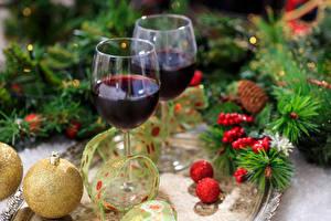 Фотография Рождество Вино Бокалы Вдвоем Шарики Еда