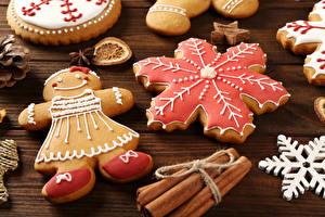 Фотография Рождество Печенье Корица Дизайн Снежинки Пища