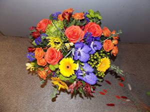 Обои Букеты Розы Герберы Орхидеи Цветы фото