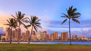 Обои Дома Река Небо Гавайские острова Пальмы Дерево Waikiki Honolulu город