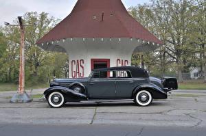 Обои Тюнинг Cadillac Ретро Сбоку Серый Металлик 1934 V12 370-D All Weather Phaeton by Fleetwood Автомобили фото
