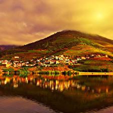 Обои Португалия Осень Горы Реки Поля Вечер Побережье Природа фото