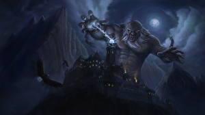 Магия Замки Горы Орлы Монстры Великан Ночь Луна Цепь