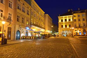 Обои Украина Дома Львов Улица Уличные фонари Ночные