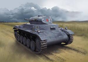Фотография Танки Рисованные Немецкий Pz.Kpfw.II Ausf.A