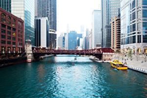 Обои США Реки Мосты Дома Катера Чикаго город Города фото
