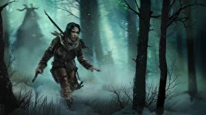 Картинка Rise of the Tomb Raider Лара Крофт Снега Деревья Девушки