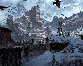 Фото Rise of the Tomb Raider Зима Горы Здания Лара Крофт Снег Деревня Деревянный