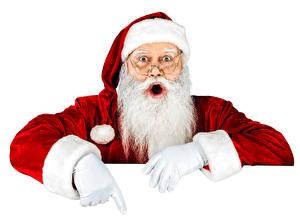 Обои Праздники Новый год Белый фон Дед Мороз Шапки Руки Очки Борода Перчатки Старик фото