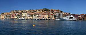 Фото Италия Дома Реки Причалы Яхта Побережье Portoferraio Tuscany