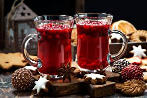 Фотография Напитки Новый год Печенье Кружка 2 Шар