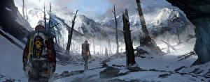 Фотографии Rise of the Tomb Raider Сибирь Зимние Горы Лара Крофт Снег Деревьев Climber Девушки