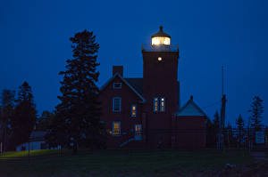 Фотографии Штаты Маяки Дома В ночи Two Harbors Minnesota Города