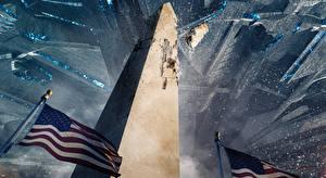 Обои США Катастрофы Фантастическая Флаг Independence Day: Resurgence Washington Monument 2016 Кино