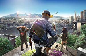 Фотографии Мужчины Пистолеты Дома США Watch Dogs 2 Бейсболка Сан-Франциско Телефон Куртка Marcus Holloway Игры 3D_Графика